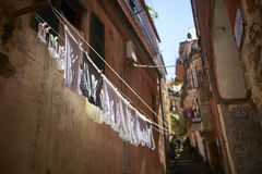 Hanged clothes. Clothes hanged to dry in vernazza Stock Images