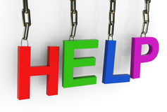 Hanged colorful 'help' text Royalty Free Stock Photos