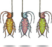 Hanged dead roaches vector hand drawn illustration clip-art. Hand drawn Stock Images