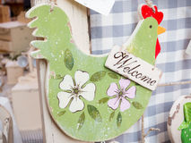 Hanged green wooden decoration chicken shaped Stock Photography
