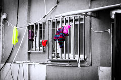 Hanged Laundry Outside Home Stock Photo