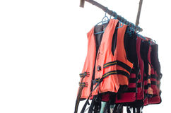 Hanged life jacket isolated Royalty Free Stock Photography