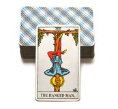 The Hanged Man Tarot Card Reflection Surrender Stand Outside the picture. The Hanged Man Tarot Card shows the time to surrender and take time to stand outside vector illustration