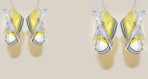 Hanged shoes Stock Image