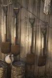 Hanged shovel. Hanged shovel on the wooden wall Stock Photo