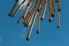 Hangend Bamboeriet, Blauwe Hemel op achtergrond Stock Afbeelding