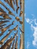 Hangend Bamboeriet, Blauwe Hemel op achtergrond Royalty-vrije Stock Fotografie