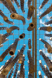Hangend Bamboeriet, Blauwe Hemel op achtergrond Royalty-vrije Stock Afbeeldingen