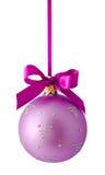 Hangend lilac geïsoleerde Kerstmisbal Stock Foto