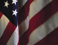 Hangende Amerikaanse vlag stock afbeelding