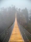 Hangende brug in nevelige berg Royalty-vrije Stock Afbeeldingen