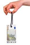 Hangende Euro markering 5 Royalty-vrije Stock Fotografie