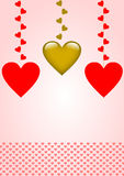 Hangende harten en het scherpen van rode hieronder harten Stock Afbeelding