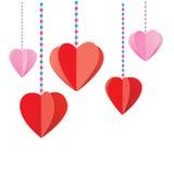 Hangende harten op witte achtergrond Royalty-vrije Stock Foto