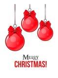 Hangende Kerstmisballen met bogen en begroetende teksten Vector illustratie Stock Afbeelding