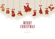 Hangende Kerstmiselementen Stock Afbeeldingen