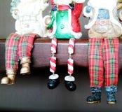 Hangende Kerstmislaarzen royalty-vrije stock foto