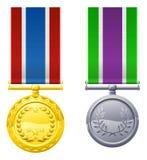 Hangende medailles en linten Royalty-vrije Stock Fotografie