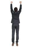 Hangende mens in zwart kostuum Stock Foto