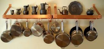Hangende Potten en Pannen 3 Royalty-vrije Stock Afbeelding