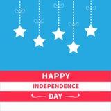 Hangende sterren met van de boogsrip van de streepjelijn Gelukkige onafhankelijkheid als achtergrond dag de Verenigde Staten van  vector illustratie