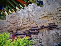 Hangende Tempel of Xuankong-Tempel in China, kunst en geschiedenis royalty-vrije stock foto's