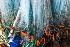 Hangende visserijnetten Stock Afbeelding