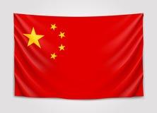 Hangende vlag van China Mensenrepubliek van China Nationaal vlagconcept Stock Foto