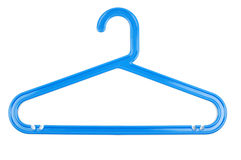 Hanger. Blue plastic hanger on white background Royalty Free Stock Images