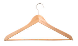 Hanger. Wooden hanger isolated on white Royalty Free Stock Photography