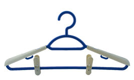 Hanger for clothes. Of dark blue colour on a white background Royalty Free Stock Photography