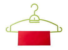 Hanger. coat hanger with tag on background Stock Image