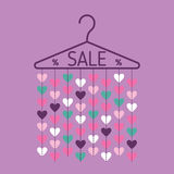 Hanger with heart garland. Sale banner. Vector Royalty Free Stock Photo