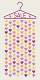 Hanger with heart garland. Sale banner Stock Image