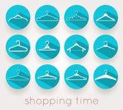 Hanger het winkelen tijdschaduwen vector illustratie