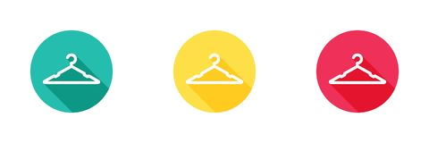 Hanger icon in green, yellow, and red background with long shadow effect, clothing rack symbol, Simple, flat design for web or mob royalty free illustration