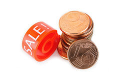 Hanger marker with Sale word and euro coins Stock Photography