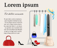 Hanger racks with clothes on hangers. Flat design style modern illustration concept. stock illustration