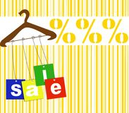 Hanger with sale tags Royalty Free Stock Image