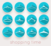 Hanger shopping time shadows. Set of hangers with shadows, shopping time Royalty Free Stock Image
