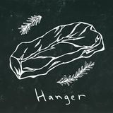 Hanger Steak Cut Vector Isolated On Chalkboard Background Outline Royalty Free Stock Images