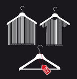 Hanger vector. Hanger with bar code and big sale tab over black background. vector Stock Photography