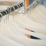 Hangers. Empty hangers in a row at a retail store Royalty Free Stock Images