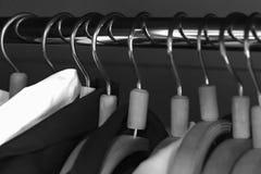 Hangers in the closet. A hangers in the closet stock photos
