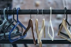 Hangers in room. Clothes storage. stock photo