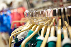 Hangers in the clothing store. Royalty Free Stock Image