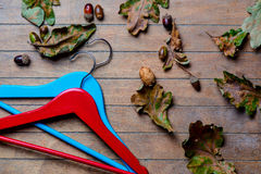 Hangers and fallen leaves Stock Photo
