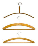 Hangers isolated on white. Old wooden hangers isolated on white background Stock Photos