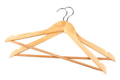 Hangers. Many wooden hangers on white isolated background Stock Photography