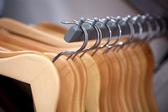 Hangers in a row Stock Images
